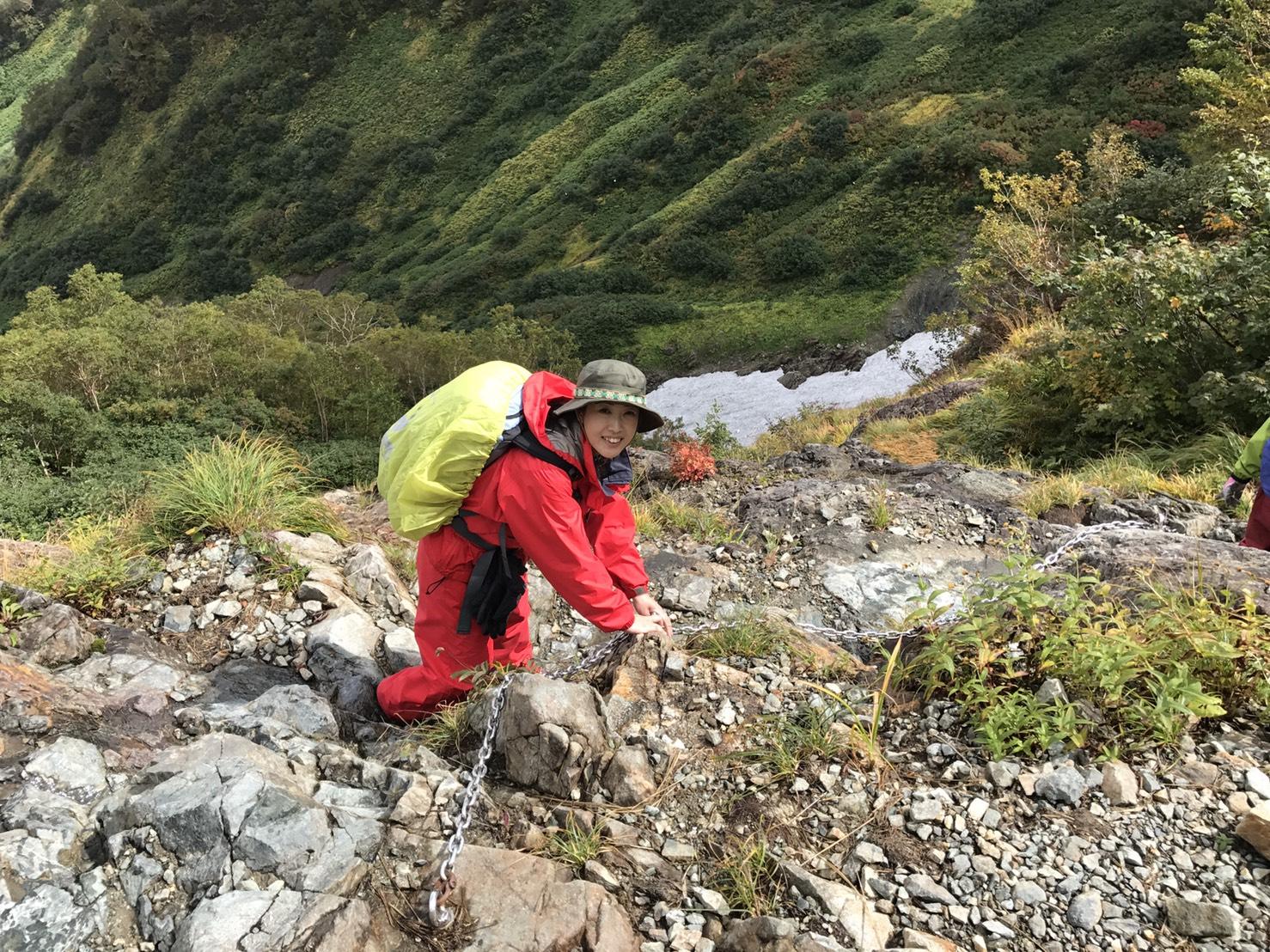 白馬鑓岳温泉小屋に下山中